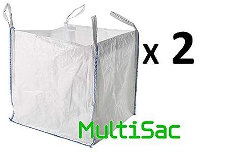 MULTISAC. 2 Big Bags (FIBC) 90x90x90cm 1000 KG. Ideal para gestión de reciclaje, escombros, tierra, áridos, jardinería, etc.