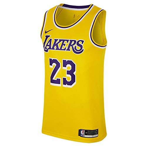 NIKE Men's Los Angeles Lakers Lebron James 2018-19 Icon Edition Swingman Jersey Large Gold