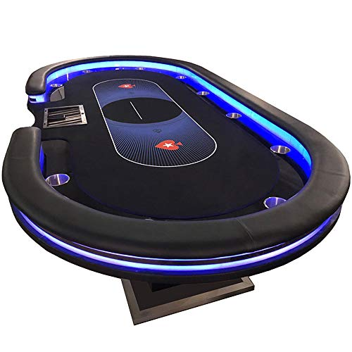 CXSMKP Texas Hold'em-Tisch Mit USB-Handy-Laden, Falten-Texas-Hold'em-Tisch-Tuch-Kissen, Runder Pokertisch Für 8 Spieler, 240X120cm,A