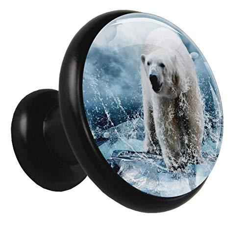 Orso polare sul ghiacciaio Manopole della porta dell'armadio Manopole rotonde nere in metallo in cristallo per porta degli armadietti del bagno (4 pezzi) 32x30x17mm