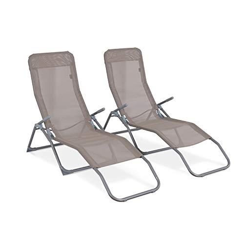 Alice's Garden Lot de 2 Bains de Soleil pliants - Levito Taupe - Transats textilène 2 Positions, chaises Longues