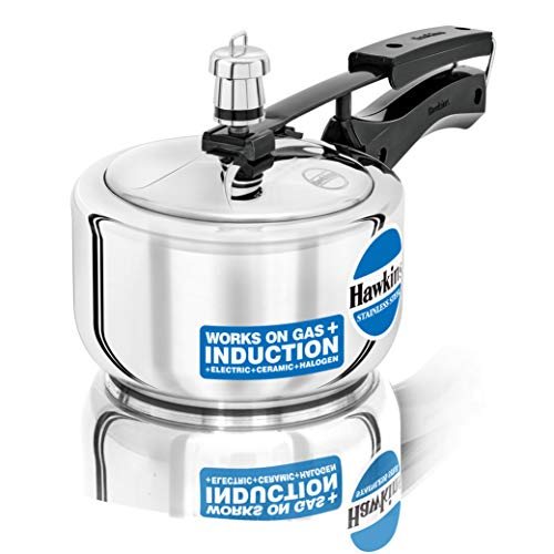 Hawkins Stainless Steel Induction Compatible Pressure Cooker, 1.5 Litre, Silver (HSS15)