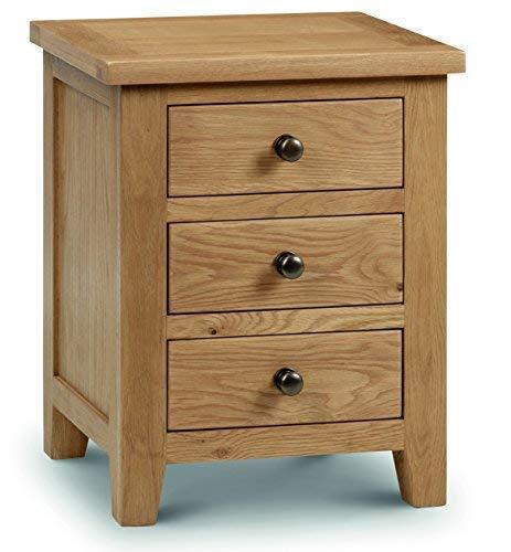Julian Bowen Marlborough - Comodino con 3 cassetti, in legno di quercia cerato, cerato - legno di quercia