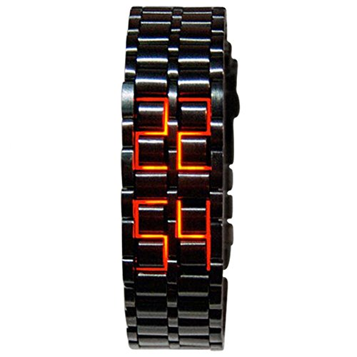 Bingirl Men Stainless Steel Lava LED Digital Watch Outdoor Sports Multifunction Luminous Wristwatch Red Light Male Black