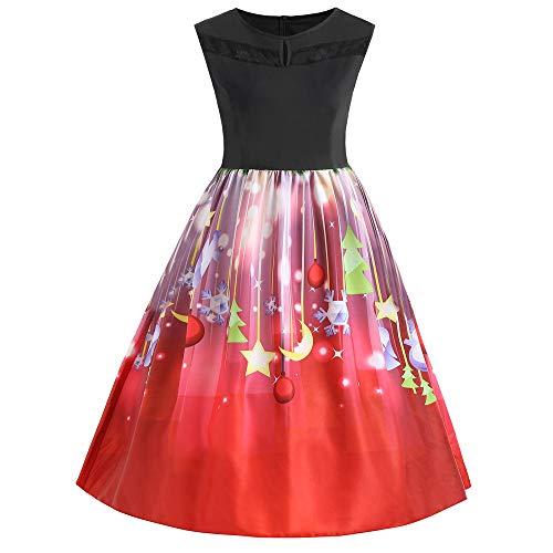 MIRRAY Damen Halloween Kürbis Abendkleider Ärmellos O Hals Abend Druck Partei Prom Swing Kleid Orange S-2XL (XL, Z-Rot)