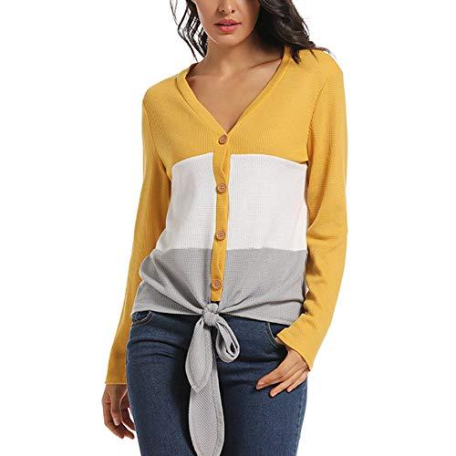 YZANYFQH Herbst/Winter Damen V-Ausschnitt NäHte Kontrastfarbe Langarm Pullover Top Frauen