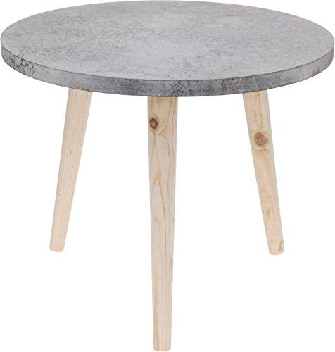 Bijzettafel tafel decoratieve nachtkastje opbergruimte grijs/bruin 49x42 cm betonlook