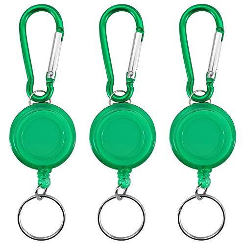 YOUZiNGS sleutel JoJo met karabijnhaak in 3-delige set, ski-pashouder, sleutelrol met nylon koord, lusclip, riemclip met sleutelring, ID-JoJo, kaarthouder, kleur: groen