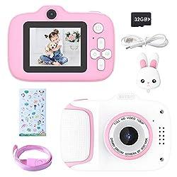 Kecow Fotocamere Digitali per Bambini,20MP Fotocamera Digitale 1080P HD Videocamera Obiettivo Doppio Selfie Fotocamera con 32GB Scheda SD, 2 Pollici, Regalo di Compleanno