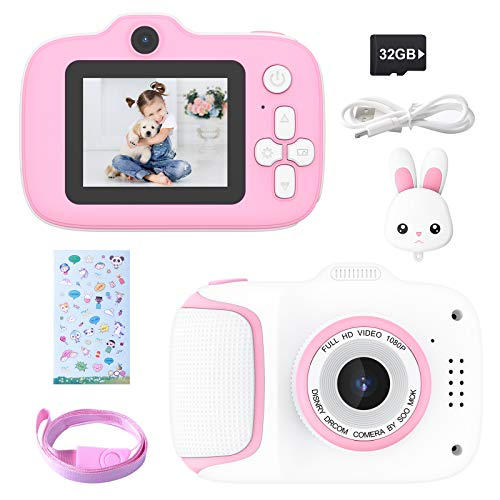 Kecow Cámara para Niños Juguete para Niños Cámara Digital para Niños 2 Inch HD Pantalla 1080P con Tarjeta de Memoria de 32GB Regalos Cámara Juguete para 3 a 12 años Niños y niñas