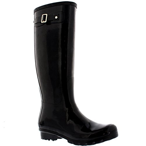 Womens Original Tall Gloss Winter Waterproof Wellie Rain Wellington Boot - Black - US 9