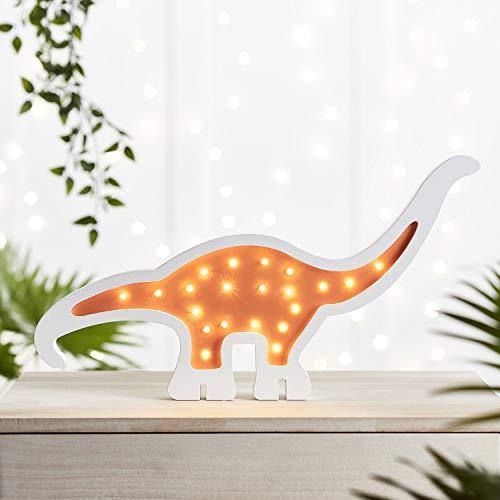 Lights4fun LED Holz Dinosaurier Nachtlicht Diplodocus Nachttischlampe batteriebetrieben
