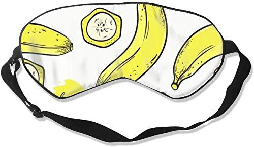Antifaz de seda natural opaco, suave y ajustable, para hombres, mujeres, niños, para dormir, viajes, siesta, trabajo, sombra de ojos, bananas con rodajas, antifaz suave para dormir, antifaz para dormir