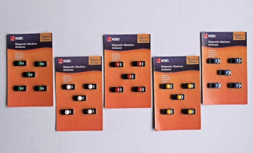 Nobo 25 x Pinnwand Magnete, je 240g Haftkraft, bunt, Haftmagnete Memoboard Whiteboard