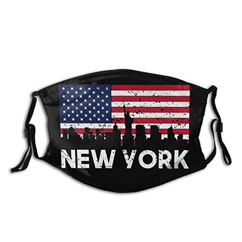 New York City American Flag Skyline Mask Unisex Dust-Proof Face CoverWashable Reusable with Filters
