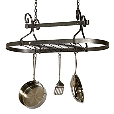 Enclume Decor Oval, Ceiling Pot Rack, Hammered Steel from Enclume