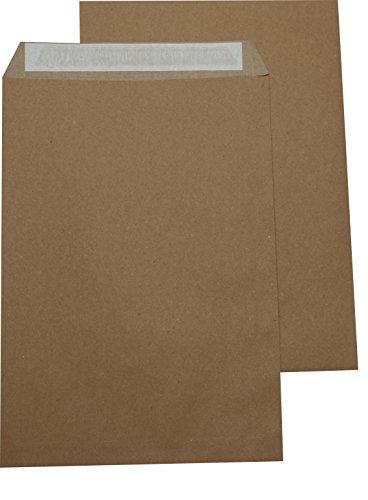 100 St. Versandtaschen extra stark 120 gr. DIN A4 C4 braun ohne Fenster Kuvert Haftklebend Briefumschläge HK