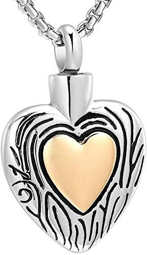 Damesketting, as, halsketting, urne, vuurbestating, ashanger, aandenken as, as, goudkleurig, hart, halsketting, as halsketting voor memooraal, houdt roestvrij staal, vuurbestating, juwel