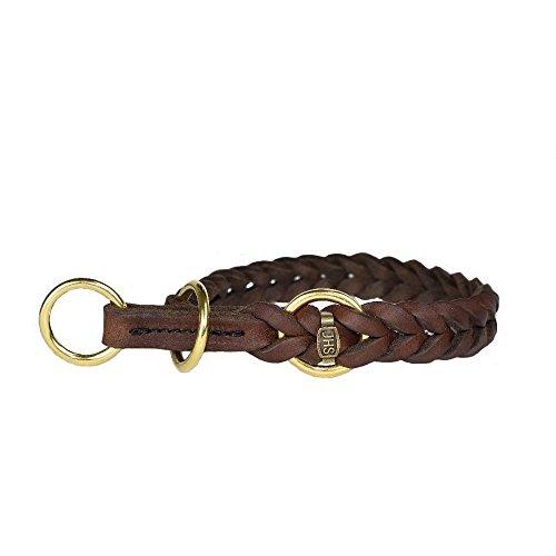 JHS Fettleder geflochten - Hunde Halsband Führleine Schauleine Dressurhalsung (55 cm, Halsband mit Zugstopp)