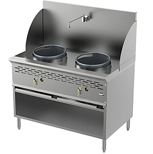 Pantin Natural Gas 2 Burners Commercial Heavy Duty Stainless Steel Compact Wok Range with Cabinet - Total BTU 256,000 (13' & 13' NG)