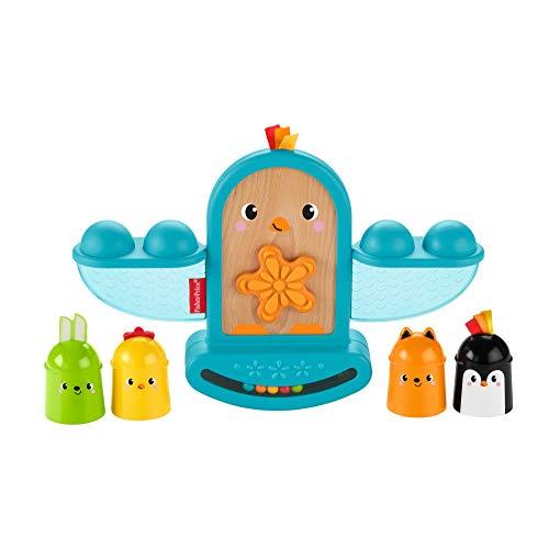 Fisher-Price Pájarito Apila y Suena, juguete apilable con sonajeto bebés +6 meses (Mattel GJW26)