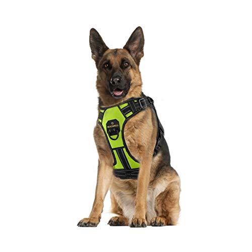 MASBRILL Hundegeschirr Einstellbare Anti Zug Sicherheitsgeschirre Reflektierend Brustgeschirre Weich Gepolstert Atmungsaktiv Hunde Geschirr für Große Mittlere und Kleine Hunde(Grün XL)