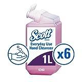 Scott Essential, 6340, Jabón de manos en espuma para uso diario, 1 litro, rosa, 6 recargas de cartucho de 1 litro