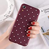 OWIME Funda de teléfono de Lunares para iPhone 7 8 6 6S Plus 11 Pro XS MAX XR X 5 5S SE Funda de TPU Suave Retro Vintage Wave Point Soft-para iPhone 8 Plus_Vino Rojo