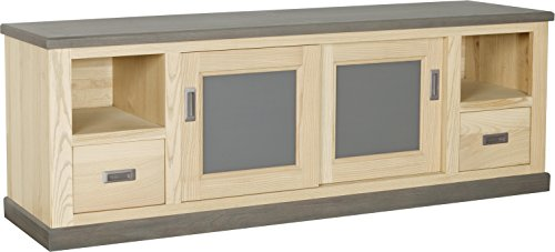 Destock Meubles Meuble TV 2 portes coulissantes 2 tiroirs 2 niches frêne massif blanchi