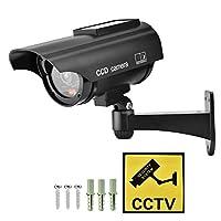家庭用ダミーカメラ、屋外ソーラーパワーフェイクカメラCCTV防水現実的なダミーセキュリティカメラ点滅(銀)