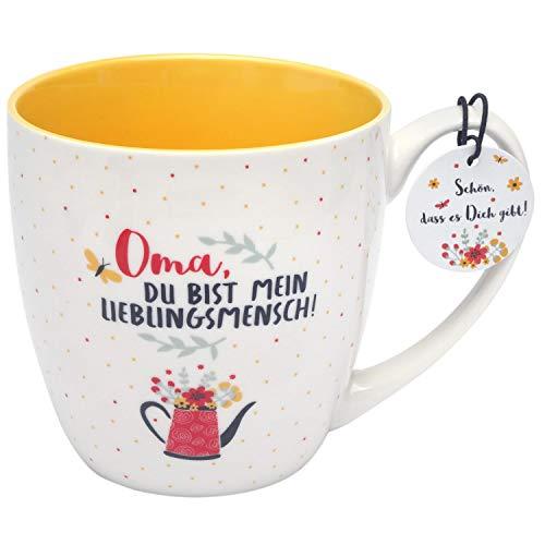 GRUSS & CO 46534 Tasse mit Motivdruck, Oma du bist mein Lieblingsmensch, innen gelb, 45 cl, mehrfarbig