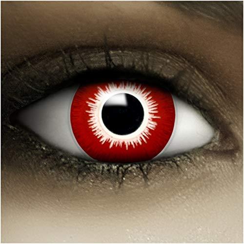 Farbige Kontaktlinsen ohne Stärke Bloody + Kunstblut Kapseln + Kontaktlinsenbehälter, weich ohne Sehstaerke in weiß und rot, 1 Paar Linsen (2 Stück)