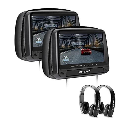 XTRONS 2x9 Inch Pair HD Digital Touch Panel Leather Cover Car Auto Headrest DVD Player Games Built-in HDMI Port Black New Version Headphones Included