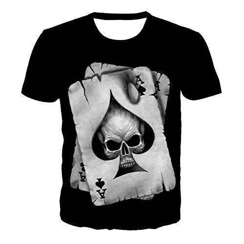 Herren T-Shirt Bedruckt Kurzarm Poker Skull 3D Digital Gedruckt Rundhalsausschnitt Herren- Und Damenpaar Kleid-Bild_5XL