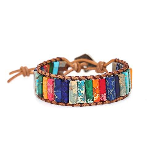 Hiistaring Leather Bracelet Chakra Handmade Imperial Jasper Wrap Adjustable Natural Stone Bead Bracelet for Women