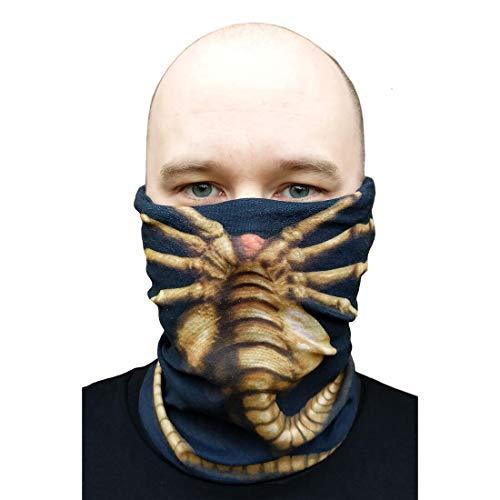 getDigital Alien Facehugger Multifunktionstuch - 5in1 Accessoire Schal für Damen, Herren und Fans von Sci-Fi Filmen - 24 x 47 cm Schwarz Elastisch