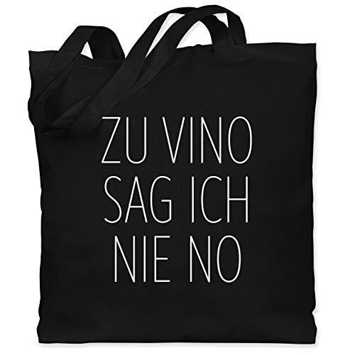 Shirtracer Sprüche - Zu Vino sag ich nie No weiß - Unisize - Schwarz - jutebeutel wein - WM101 - Stoffbeutel aus Baumwolle Jutebeutel lange Henkel