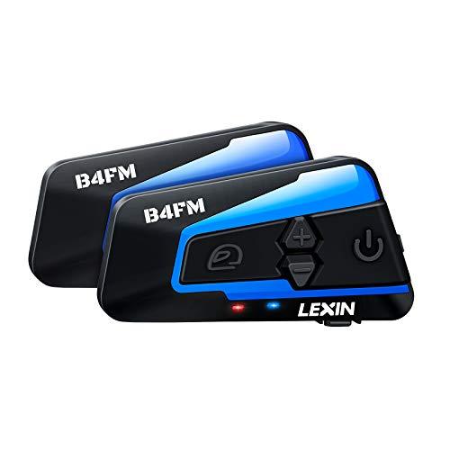 LEXIN 2X B4FM Intercomunicador Casco Moto Bluetooth Con Radio FM,Sistema Comunicador Casco de Reducción de Ruido, Manos Libres Para Moto,4 Motoristas tienen distancia de hasta 1200M Para Moto/Off-Road