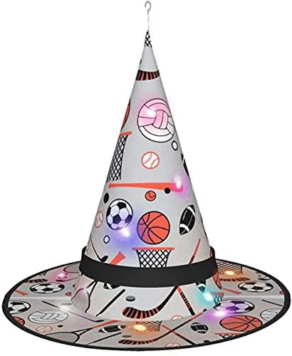 KINGAM Juego de deportes en sombrero de bruja con luz, para disfraz de Halloween, disfraz de disfraz, accesorio y diario