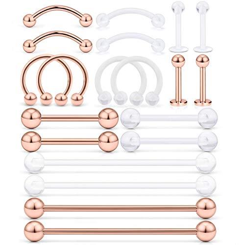 AceFun 20 Piezas Acero Inoxidable Industrial Barbell Cartílago Labio Pendientes del Perno Hoop Tragus Helix Oreja Piercing del Cuerpo Joyería de Plata
