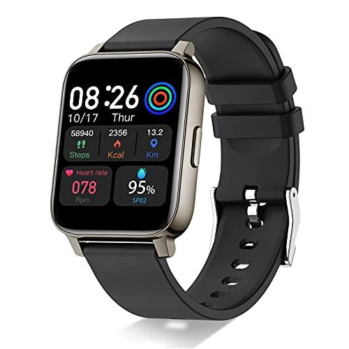 Smartwatch, 1,69' Full Touch Orologio Fitness Uomo Donna Impermeabile IP68 Smart Watch Cardiofrequenzimetro da Polso , Fitness Tracker Controllo Musica Notifiche Messaggi Contapassi Cronometro Nero