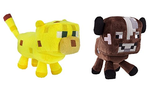 Minecraft Ocelot and Baby Cow Plush Set, 6-8 Inches