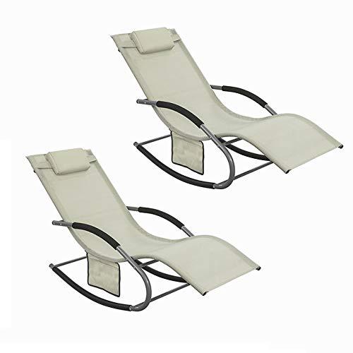 SoBuy OGS28-MIx2 2-er Set Swingliege Schaukelliege Sonnenliege Liegestuhl Gartenliege mit Tasche Gewebe in beige