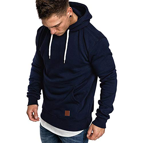 SELENECHEN Herren Sweatshirt Kapuzenpullover Sweatjacke Pullover Hoodie Sweat Hoody Sweatshirt Herren Pullover (Dark Blue, XL)