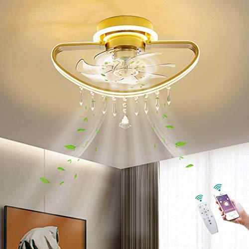 Dagea LED Ventilador de Techo Encendiendo Ligero con Control Remoto y App Control Moderno Regulable Dorado Lámpara de Techo Cuarto Sala Comedor Silencio Ajustable Velocidad del Viento,B