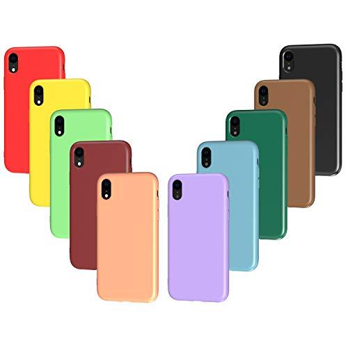 VGUARD 10 x Funda para iPhone XR, Ultra Fina Carcasa Silicona TPU Protector Flexible Funda (Negro, Verde Oscuro, Verde Claro, Azul, Naranja, Rojo Vino, Rojo, Amarillo, Púrpura, Marrón)