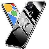 Google Pixel 4a ケース クリア 透明 TPU 素材 リング 薄型 ピクセル 4a 携帯カバー 軽量 耐衝撃 落下防止 スタンド機能付き 360回転 車載ホルダ