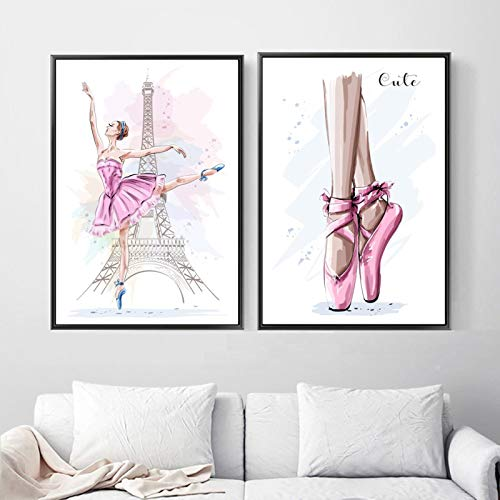 Lovely Paris Tower Ballet Girl Canvas Wall Art Painting Nordic Posters And Prints Modern Wall Pictures For Baby Kids Room Decor-45x60cm No Frame