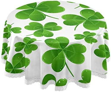 Qilmy St Patrick s Day Round Tablecloth 60 Inch Beautiful Shamrock Green Clover Leaves Lace product image
