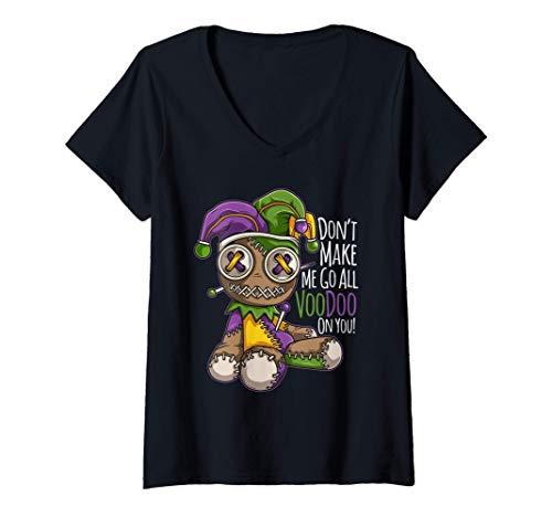 Mujer El disfraz de Mardi Gras no me hace ir como una muñeca de Camiseta Cuello V